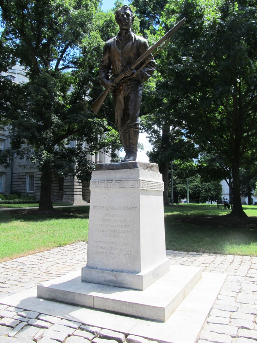 The Henry Lawson Wyatt Monument in Raleigh, North Carolina. One of the three statues at the Capitol the Gov. Cooper proposed to move.