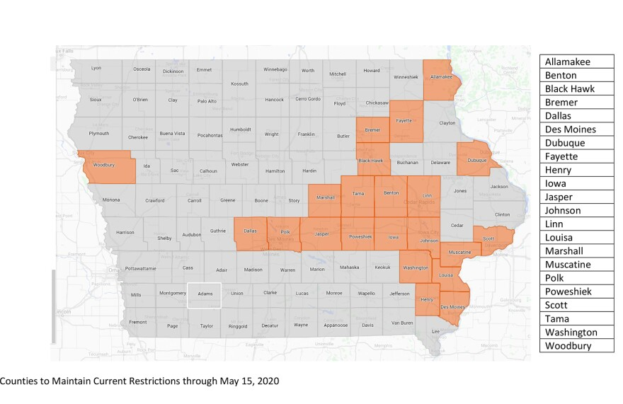 The 77 counties being allowed to partially reopen May 1 make up most of western, north central and south central Iowa.