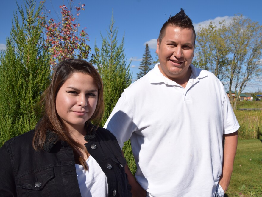 Kevin Lazore (right) with colleague Brittany Bonaparte, both lifelong residents of Akwesasne, who say many outsiders' perceptions of Akwesasne are unfair and untrue.