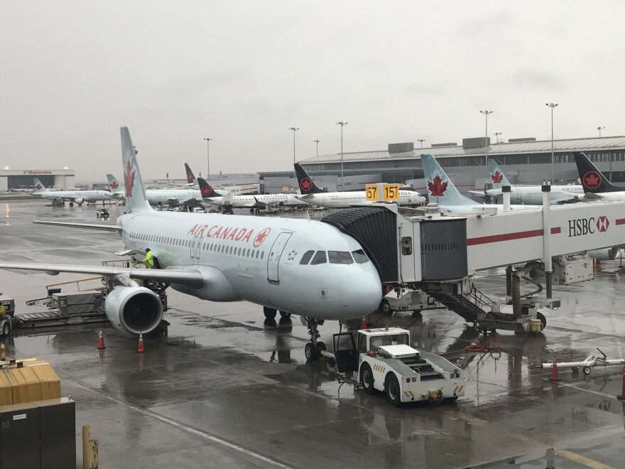 An Air Canada jet at Toronto Pearson International Airport in Toronto.