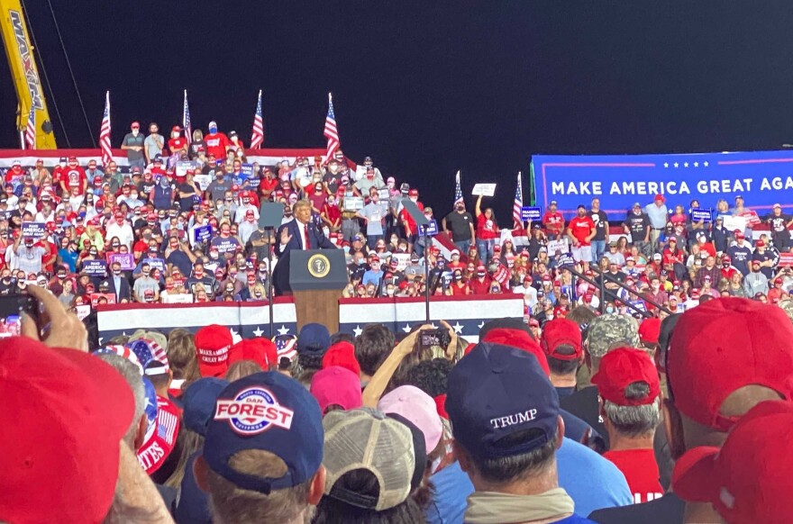 President Donald Trump speaks at a rally in Gastonia.