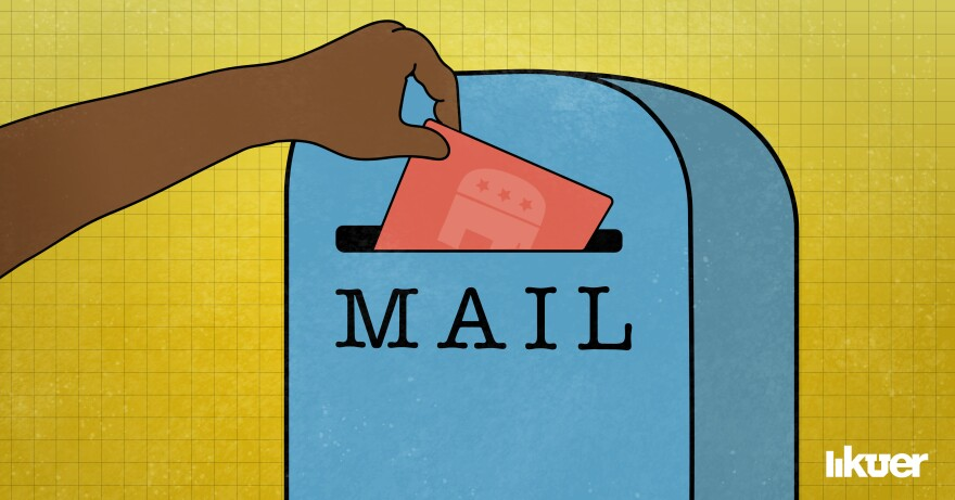 Illustration of a hand putting a ballot in a mailbox.