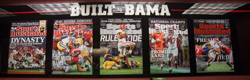 Outside Coach Nick Saban's office there are enlargements of five <em>Sports Illustrated</em> covers that highlight notable Alabama wins under Saban.