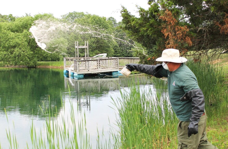 Missouri Department of Conservation fisheries technician Shane Creasy treats a five-acre lake in Warren County with aquatic herbicide to kill hydrilla on June 8, 2018.