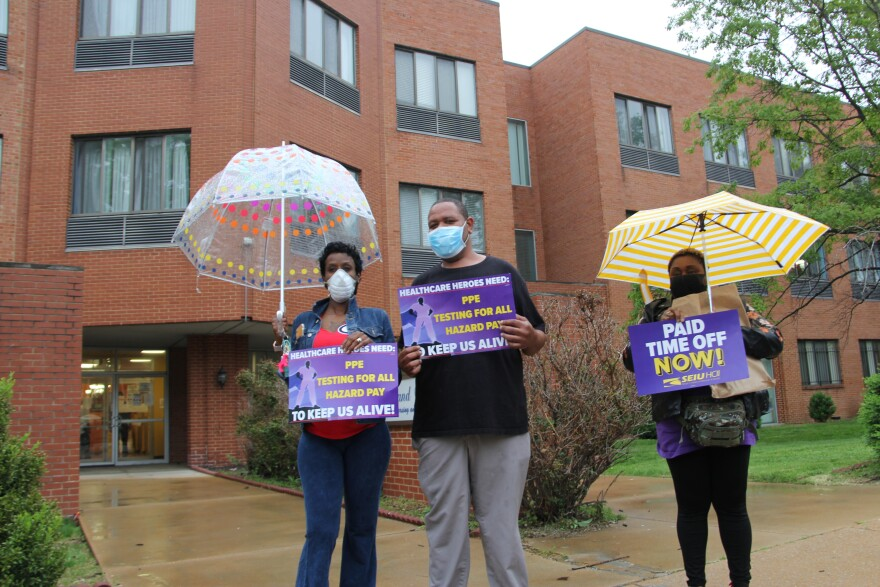 SEIU Healthcare members rallying to support nursing home workers who want paid sick leave at Grand Manor Nursing and Rehabilitation in north St. Louis on May 4, 2020.