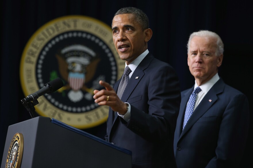 President Barack Obama and Vice President Joe Biden announce the administration's new gun law proposals in the Eisenhower Executive Office building Jan. 16, 2013 in Washington, D.C.