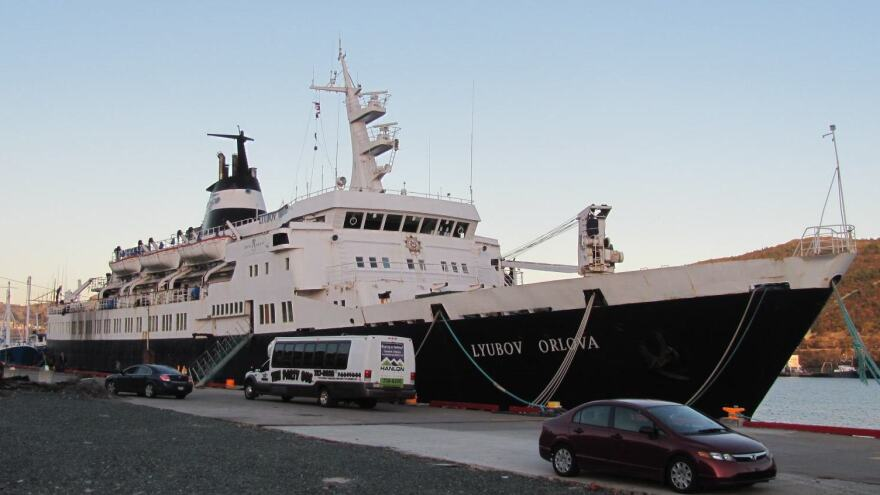 The Lyubov Orlova sits derelict at dockside in Newfoundland in October 2012.