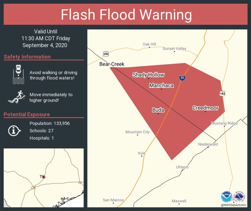 Buda and Manchaca are included in the flash flood warning.