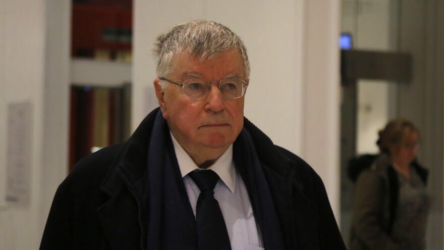 Didier Lombard, former chief executive of the French telecommunications powerhouse now known as Orange, leaves the courtroom Friday after receiving a jail sentence over a string of employee suicides.