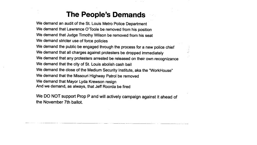 The list of demands handed out at the Sept. 28, 2017, town hall.