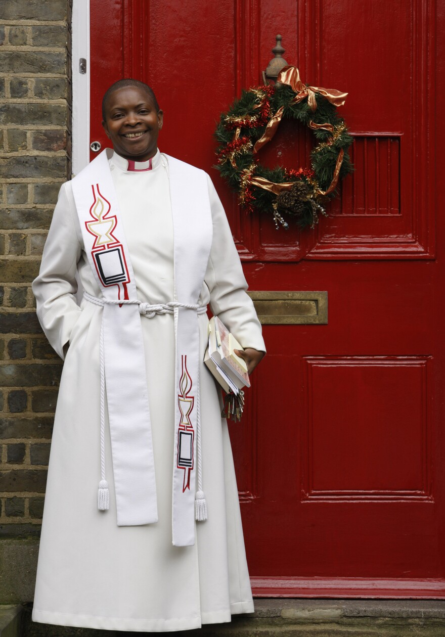 The Rev. Rose Hudson-Wilkin outside her home in Hackney, England. The first woman and the first person of color to serve as chaplain to the queen and in the House of Commons moves between those rarefied worlds and that of the poverty- and crime-ridden parish in East London that she continues to run.