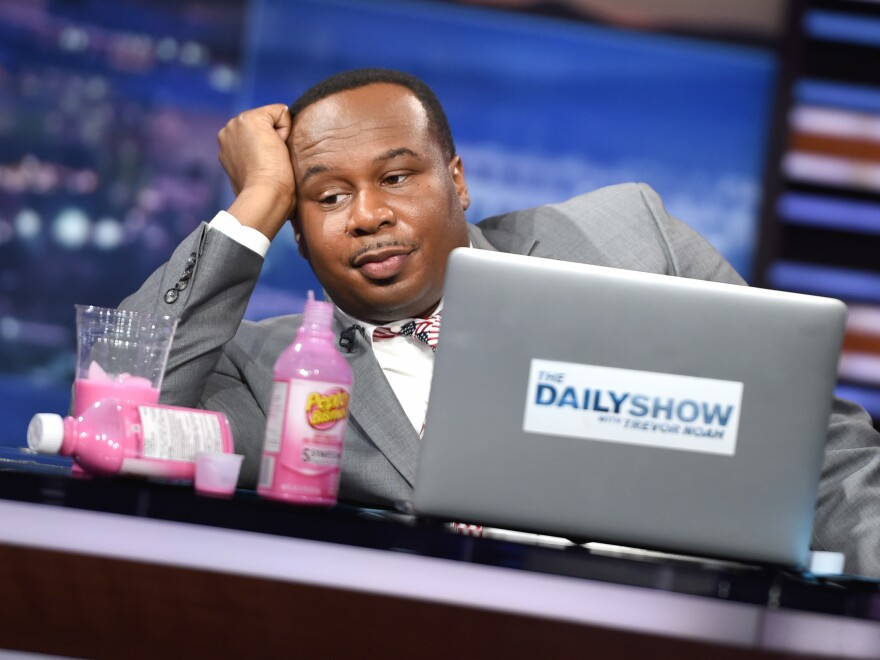 Correspondent Roy Wood Jr. reacts to 2016 presidential election returns on <em>The Daily Show with Trevor Noah</em>.