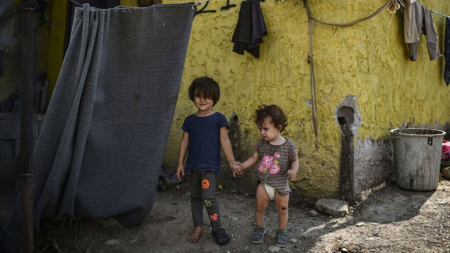 A wildfire raged near the Moria refugee camp, pictured here, on Greece's Lesbos Island. The camp is home to an estimated 9,000 migrants and refugees.