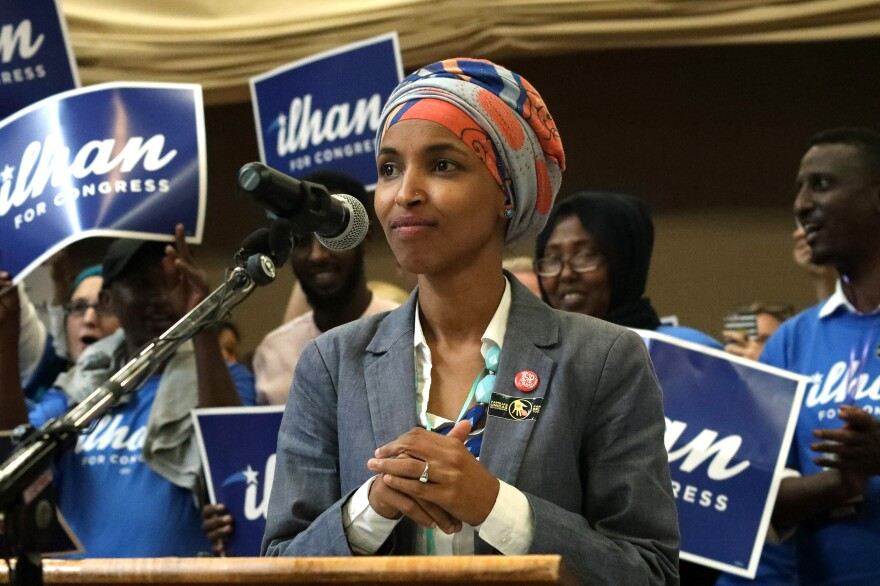 Minnesota Rep. Ilhan Omar pauses while speaking during the Democratic Farmer Labor Party endorsement convention in Minneapolis on June 17.