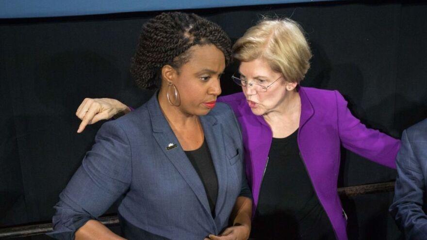 "Rep. Ayanna Pressley said of fellow Massachusetts Democrat Sen. Elizabeth Warren: ""She never loses sight of the people."""