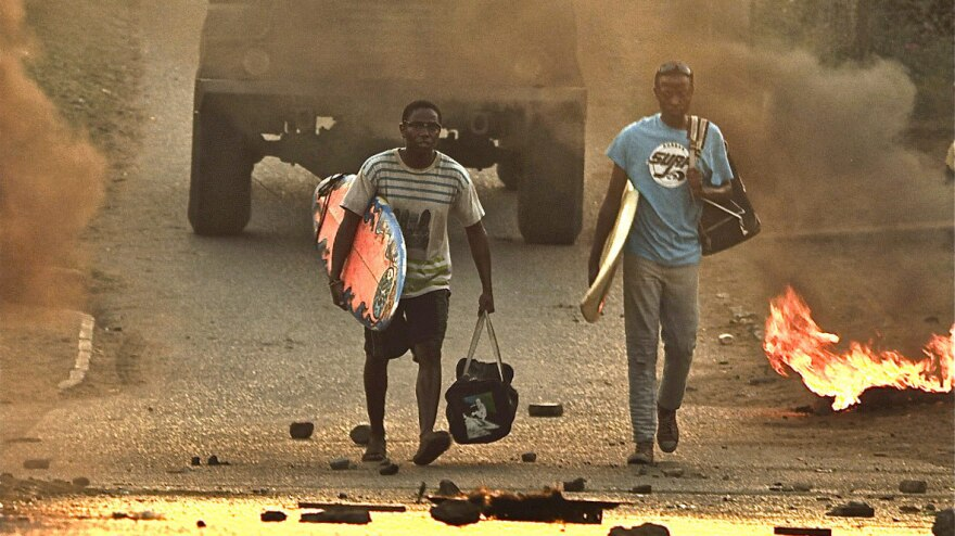 <em></em>Otelo (Jafta Mamabolo, right) and his best friend, New Year (Thomas Gumede), grow up in South Africa during the violent years toward the end of apartheid.