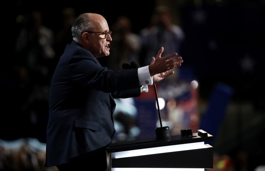 Former New York City Mayor Rudy Giuliani delivers a passionate speech on the first day of the Republican National Convention.