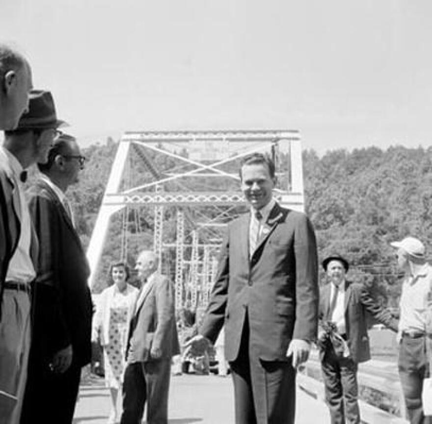 David Brinkley stands before the 'Brinkley Bridge' near the town Wayne, WV