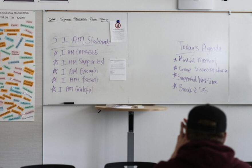 """Franklin High School special education teacher Mercedes Munoz starts her class by having her students repeat five """"I Am"""" statements."""