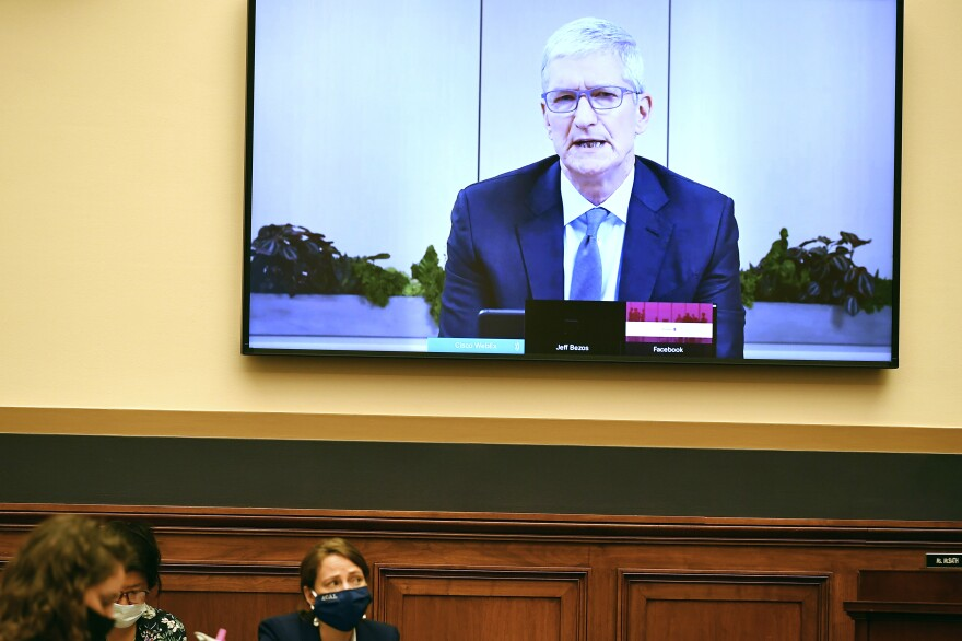 Apple CEO Tim Cook testifies remotely during a House Judiciary subcommittee on antitrust on Capitol Hill.