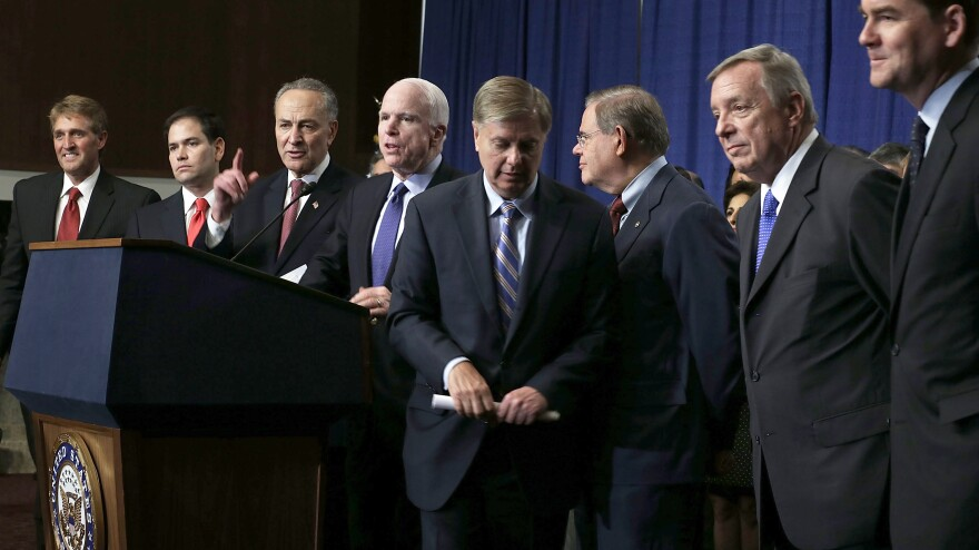 A bill proposed by the Senate's Gang of Eight (from left, Jeff Flake, R-Ariz.; Marco Rubio, R-Fla.; Charles Schumer, D-N.Y.; John McCain, R-Ariz.; Lindsey Graham, R-S.C.; Bob Menendez, D-N.J.; Dick Durbin, D-Ill.; and Michael Bennet, D-Colo.) has passed out of committee and is headed for the full Senate. But the fate of the issue in the House is less clear.