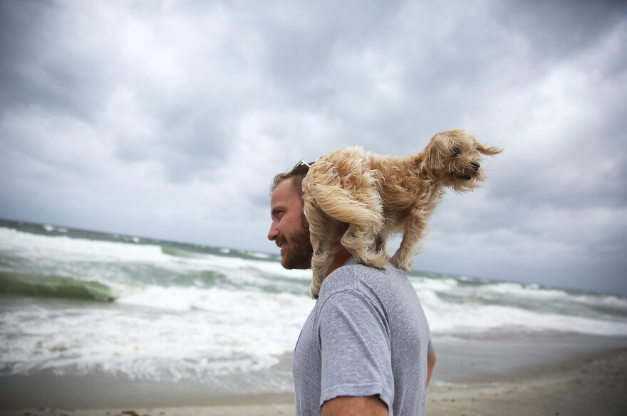 Ted Houston and his dog, Kermit, visit the beach in Palm Beach, Fla., as Hurricane Matthew approaches the area on Thursday.