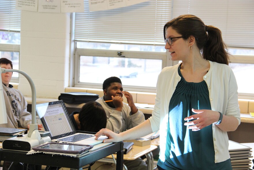 Eighth-grade communications arts teacher, Kate Berger, leads students through a classroom exercise at South City Preparatory