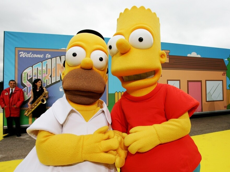 Homer, left, and Bart Simpson: too dangerous for Iran.