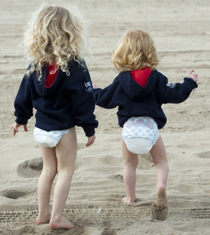 """Kerri Walsh, who is sponsored by Pampers, says her sons, pictured here, will wear the company's special """"Team USA"""" diapers during the 2012 London Games."""