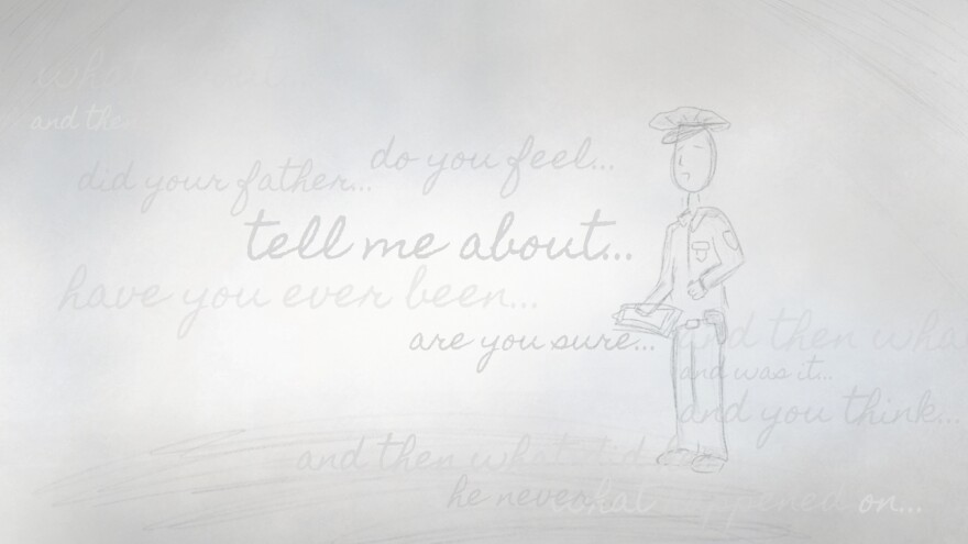 """sketched drawing of a police officer with the words """"tell me about..."""" and """"what happened..."""""""