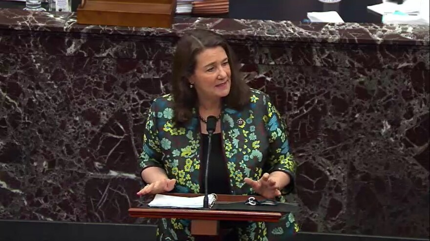 Rep. Diana DeGette, D-Colo., speaks on the third day of former President Donald Trump's second impeachment trial at the U.S. Capitol on Thursday. DeGette referenced court documents and social media posts to argue that Trump supporters believed they were following his orders in attacking the Capitol.