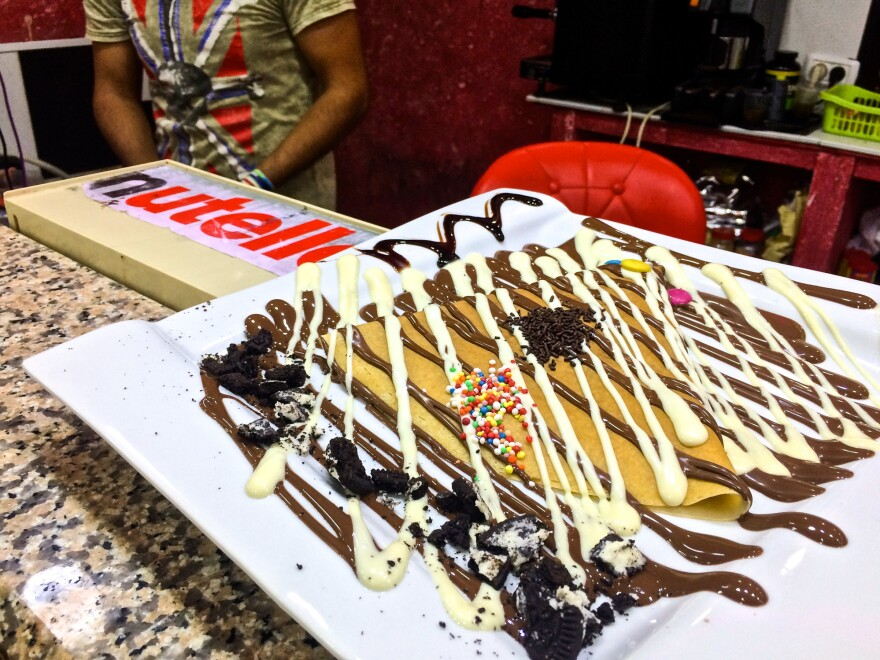 A Nutella crepe at a shop in the Shuafat Palestinian refugee camp in East Jerusalem. The shop is one of several such cafés to pop up across Jerusalem and the West Bank over the last two years.