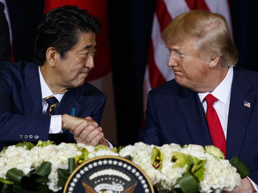 President Trump signed a partial trade agreement along with Japanese Prime Minister Shinzo Abe in New York, where the two leaders are attending the United Nations General Assembly.