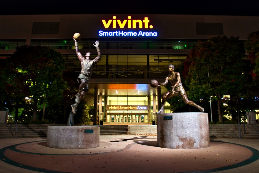 A photo of the entrance to Vivint SmartHome Arena.