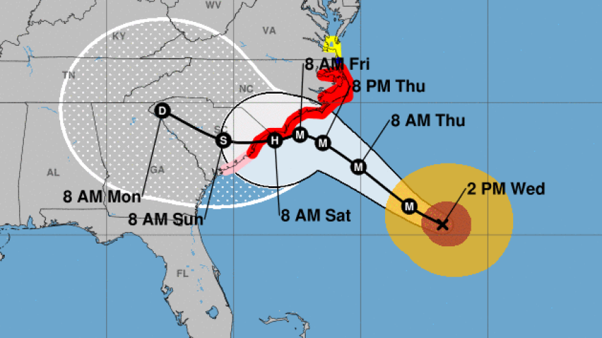 """Hurricane Florence is expected to cross through South Carolina after making landfall. """"Life-threatening, catastrophic flash flooding and significant river flooding is likely over portions of the Carolinas late this week into early next week,"""" the National Hurricane Center says."""