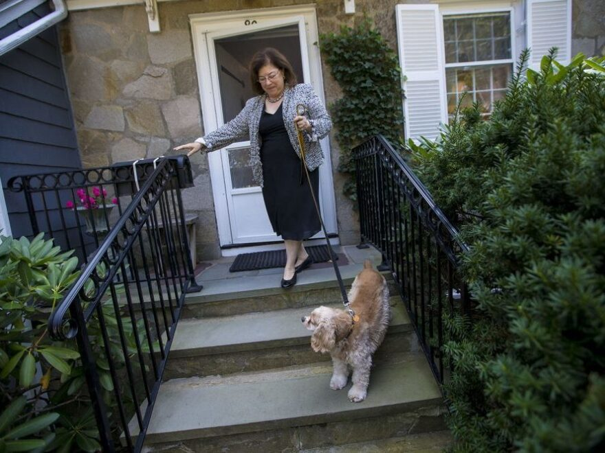 After two weeks of recovery from an addiction to opioids prescribed by her surgeon, Katie Herzog takes a walk with her dog, Pippen.
