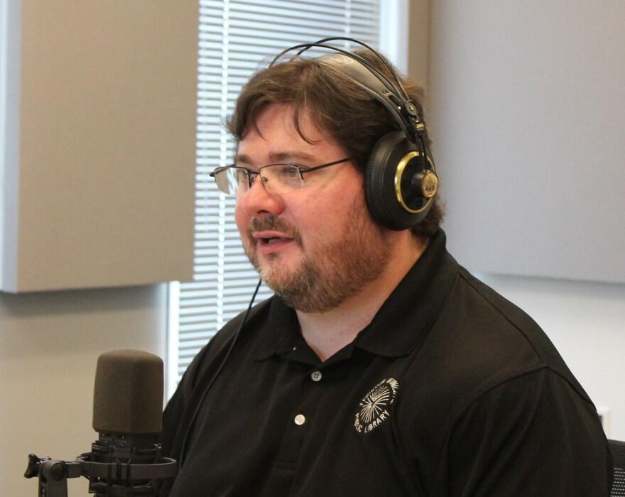 Ferguson Public Library Director Scott Bonner talks to 'St. Louis on the Air' host Don Marsh on April 1, 2015, at St. Louis Public Radio in St. Louis.