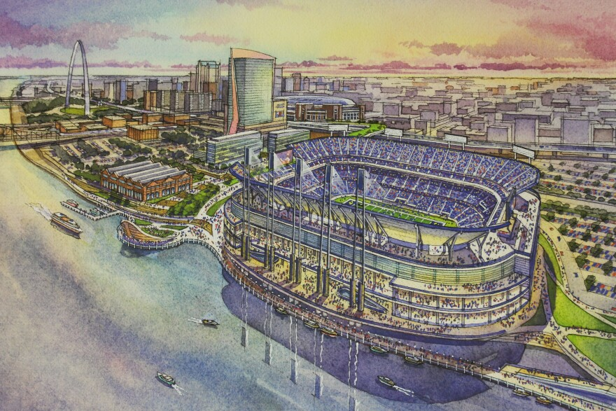 A rendering of the St. Louis riverfront stadium.