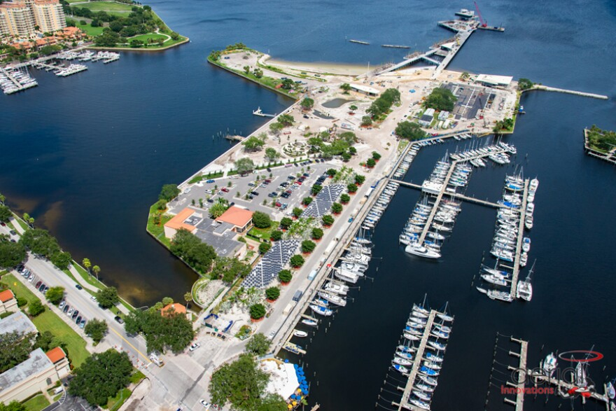 Aerial view of construction of the St. Pete Pier.