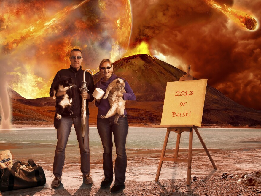 Photographer David Blackwell and his wife prepared for the apocalypse. Cats and cat food? Check. Toilet paper? Check. Exploding volcanoes and hurtling asteroids? Not so much.
