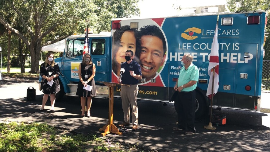 Lee County Board of County Commissioners chairman Brian Hamman speaking during a press conference held on Sept. 10.