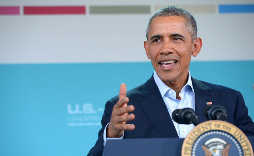 President Obama speaks during a news conference following a meeting of the Association of Southeast Asian Nations on Tuesday in Rancho Mirage, Calif.