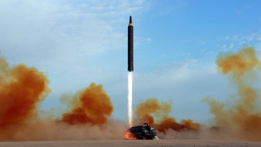 The base would very likely be used to house longer-range missiles, such as this Hwasong-12, which is capable of reaching Guam.