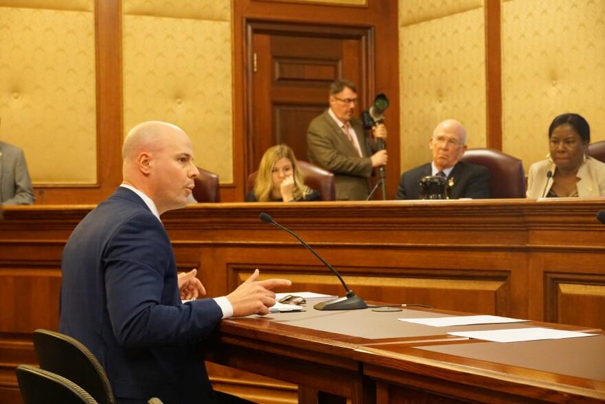 State Sen Tony Luetkemeyer, R-Parkville, presents his legislation to lengthen sentences for armed criminal action to the Senate Judiciary committee on Jan. 21, 2020.