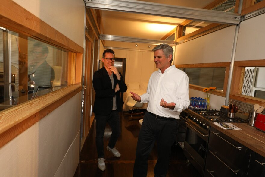 Sean Verdecia and Steve Case, co-founder of AOL, check out an AbleNook.