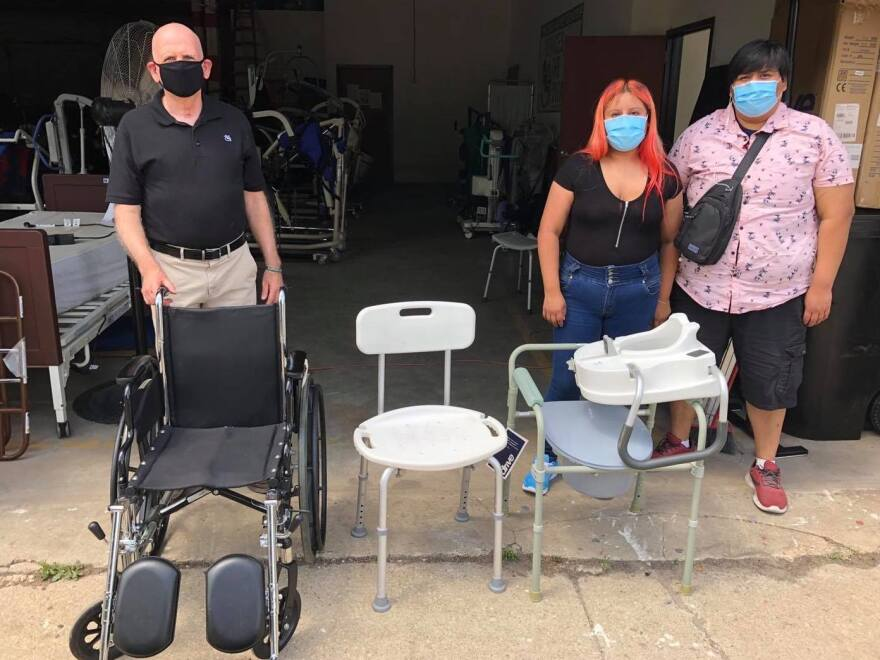 Alondra and her brother pick up medical equipment donated by Devices 4 the Disabled for their father's return home from the hospital.