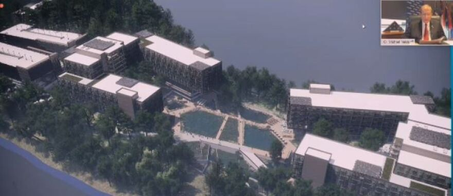 An architect's drawing shows the planned Centene Corp. campus in University Research Park.