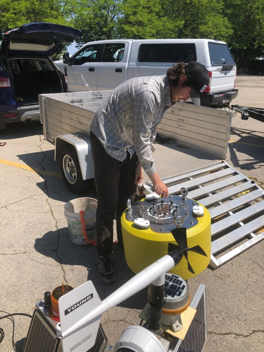 Wilson Tarpey prepared Panther buoy for deployment. He's one of the UW-Milwaukee students who helped create it.