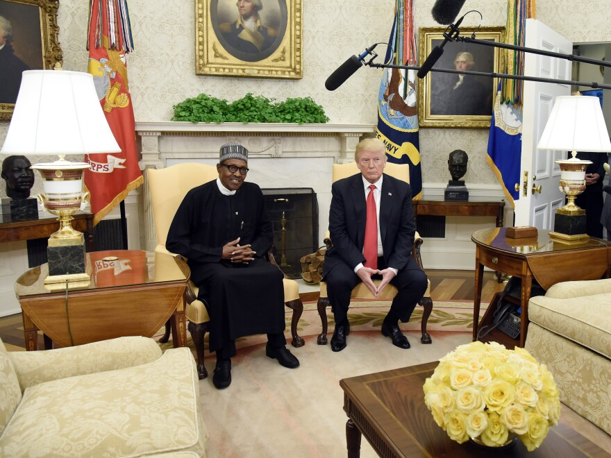 President Donald Trump meets with Nigerian President Muhammadu Buhari in the Oval Office of the White House on April 30.