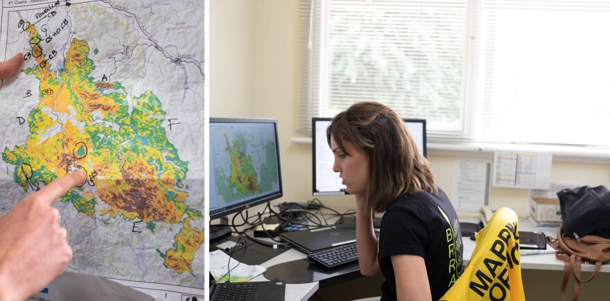 Estrella Melero-Blanca, a risk analyst for Department of Environment, Land, Water and Planning, maps areas of damage from a recent fire in Buffalo National Park in the Australian state of Victoria. She's part of a team that helps determine where debris flows are most likely to occur following bushfires.